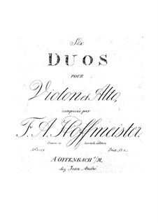 Six Duets for Violin and Viola, Op.19: Six Duets for Violin and Viola by Franz Anton Hoffmeister