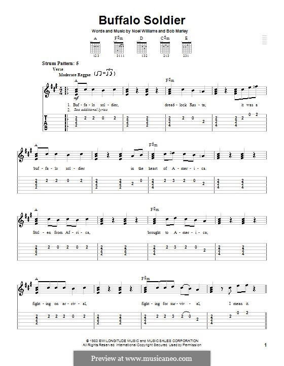 Buffalo Soldier (Bob Marley): For guitar (very easy version) by Noel Williams