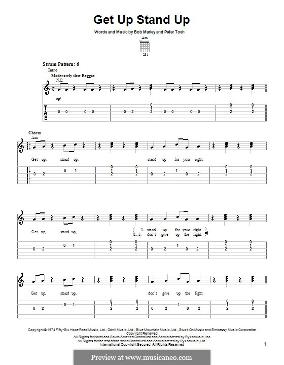 Get Up Stand Up: For guitar (very easy version) by Bob Marley, Peter Tosh