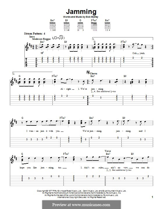 Jamming: For guitar (very easy version) by Bob Marley