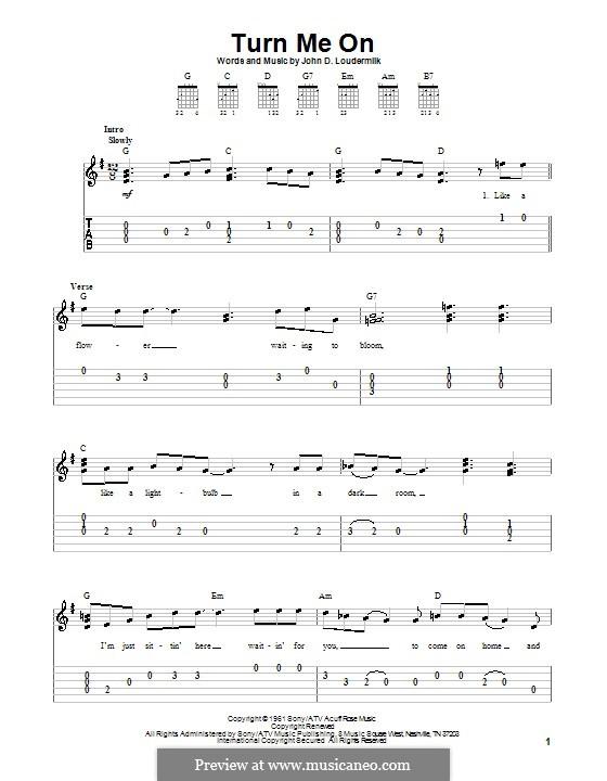 Turn Me On: For guitar (very easy version) by John D. Loudermilk