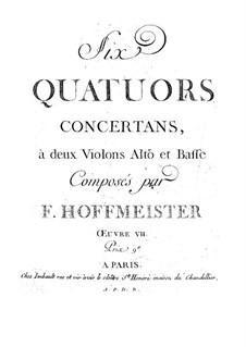 Six String Quartets, Op.7: Six String Quartets by Franz Anton Hoffmeister