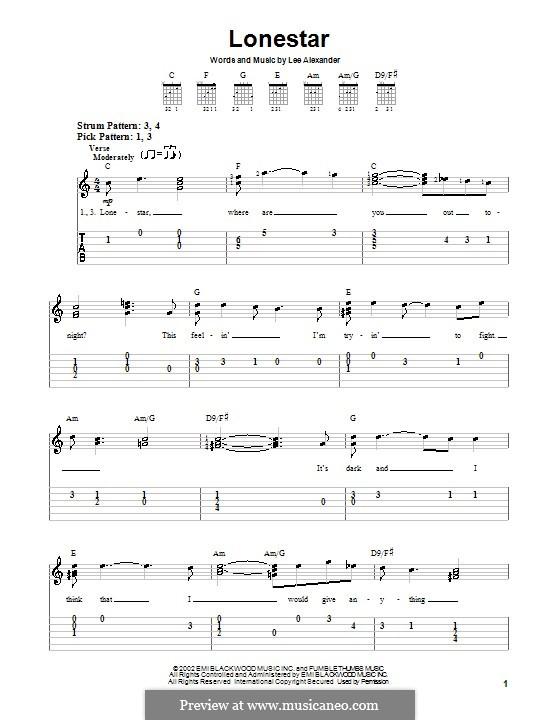 Lonestar (Norah Jones): For guitar (very easy version) by Lee Alexander