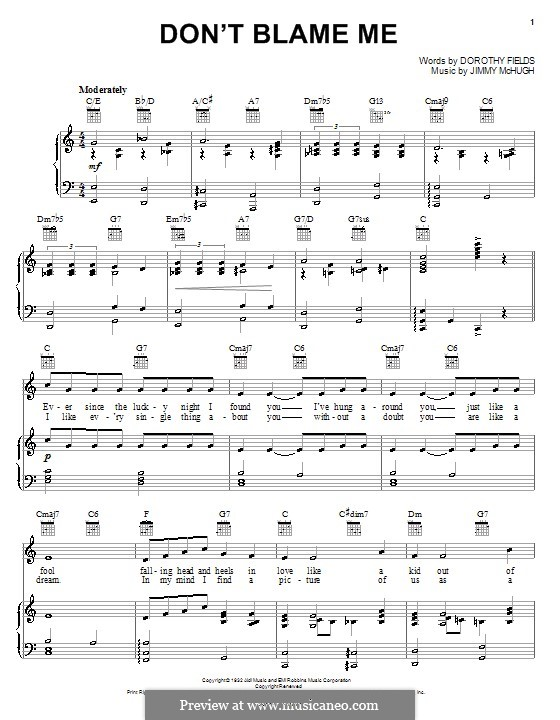 Don't Blame Me: For voice and piano (or guitar) by Jimmy McHugh