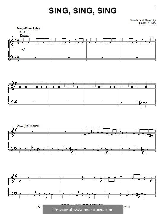 Sing, Sing, Sing (Benny Goodman): For piano by Louis Prima