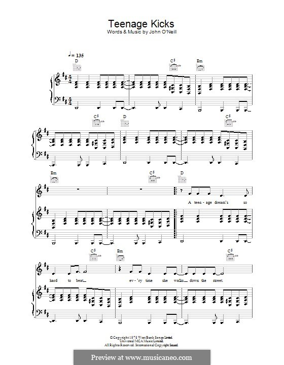 Teenage Kicks (The Undertones): For voice and piano (or guitar) by John O'Neil