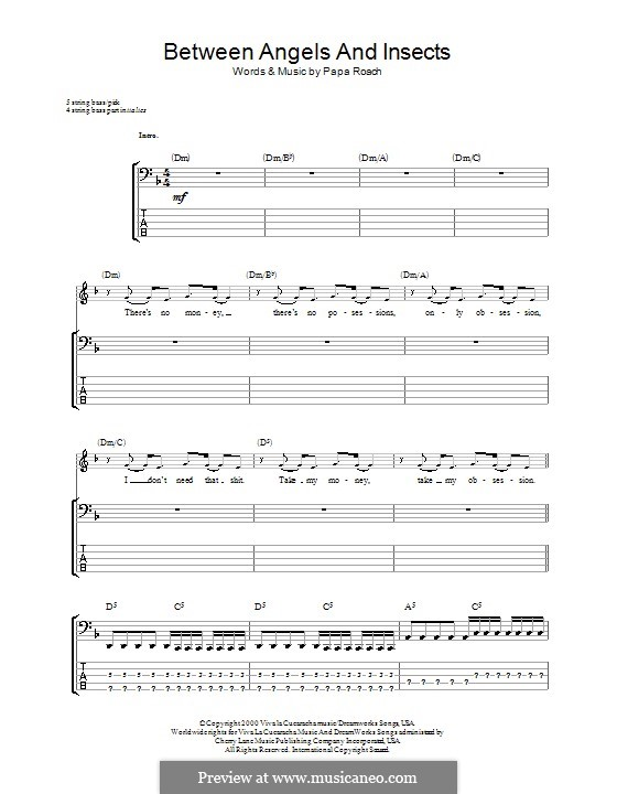 Between Angels and Insects: For bass guitar with tab by Papa Roach