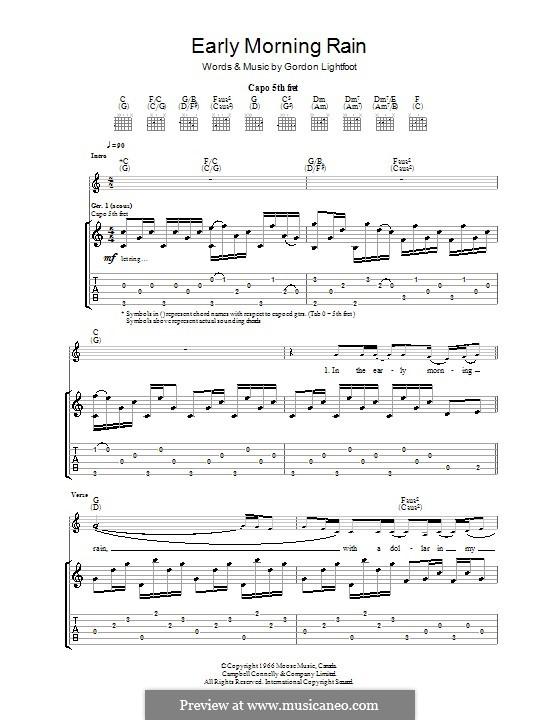 Early Morning Rain (Eva Cassidy): For guitar with tab by Gordon Lightfoot