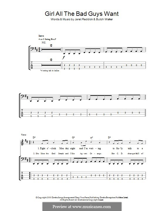 Girl All the Bad Guys Want (Bowling for Soup): For bass guitar with tab by Butch Walker, Jaret Reddick