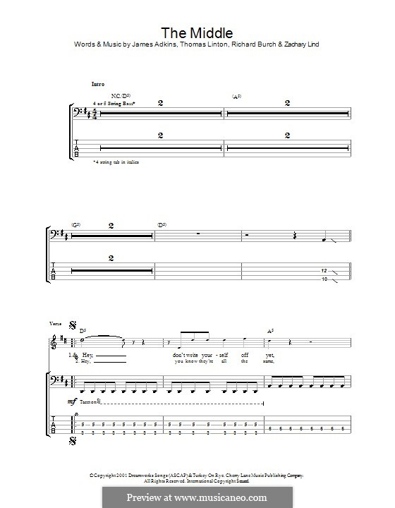 The Middle (Jimmy Eat World): For bass guitar with tab by James Adkins, Richard Burch, Thomas D. Linton, Zachary Lind