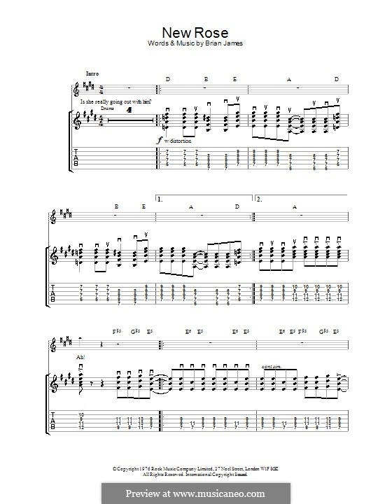 New Rose (The Damned): For guitar with tab by Brian James