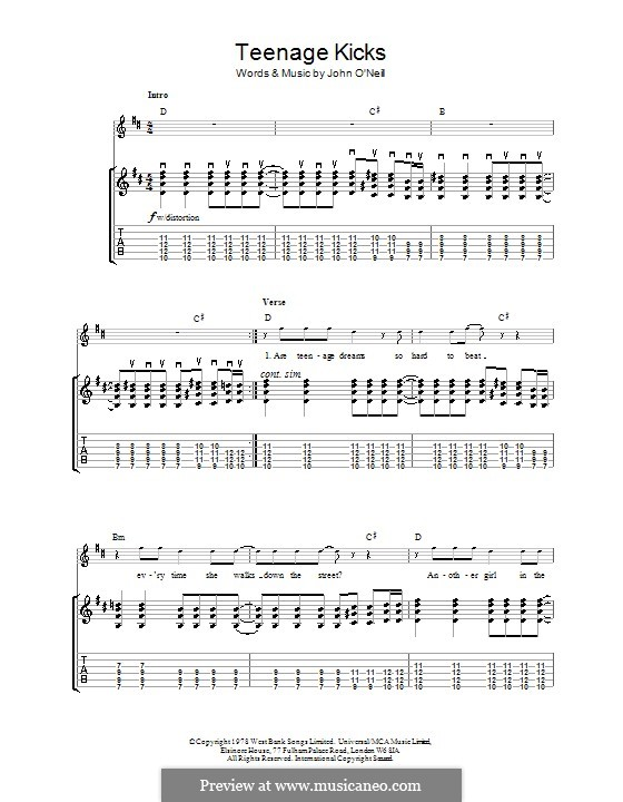 Teenage Kicks (The Undertones): For guitar with tab by John O'Neil