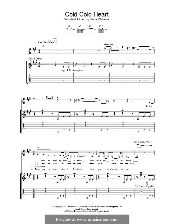 Cold, Cold Heart: For guitar with tab by Hank Williams