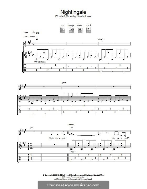 Nightingale: For guitar with tab by Norah Jones