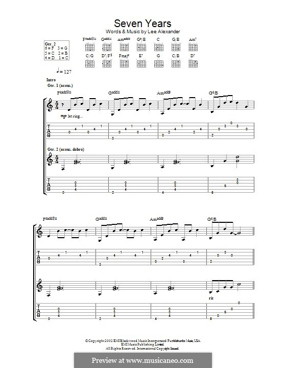 Seven Years (Norah Jones): For guitar with tab by Lee Alexander