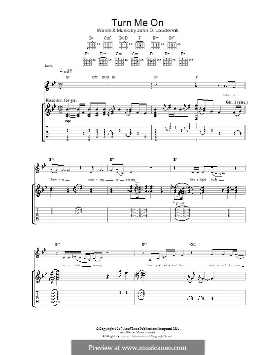 Turn Me On: For guitar with tab by John D. Loudermilk