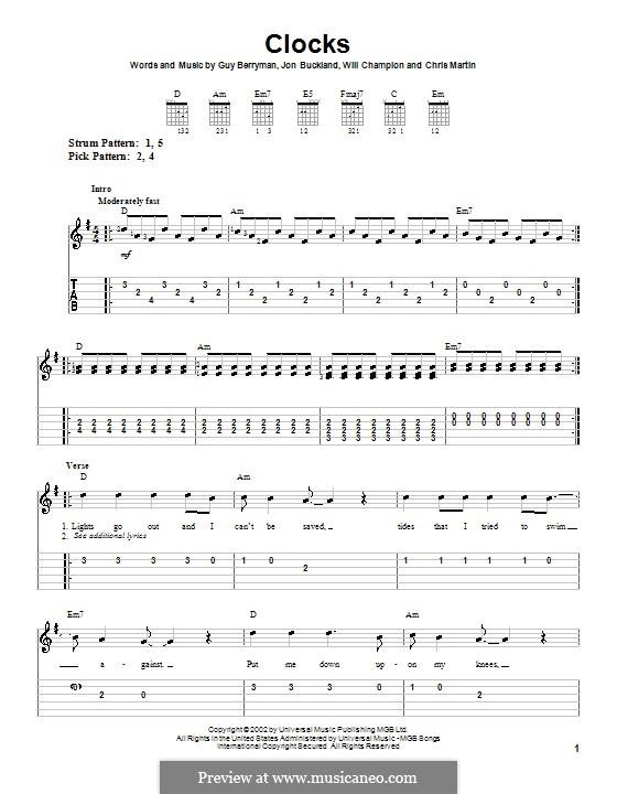 Clocks (Coldplay): For guitar (very easy version) by Chris Martin, Guy Berryman, Jonny Buckland, Will Champion