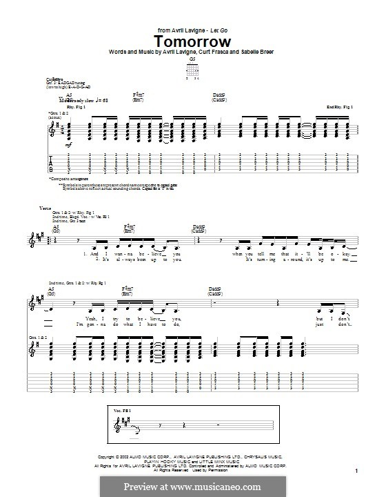 Tomorrow: For guitar with tab by Avril Lavigne, Curt Frasca, Sabelle Breer