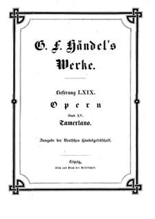 Tamerlano, HWV 18: Full score by Georg Friedrich Händel