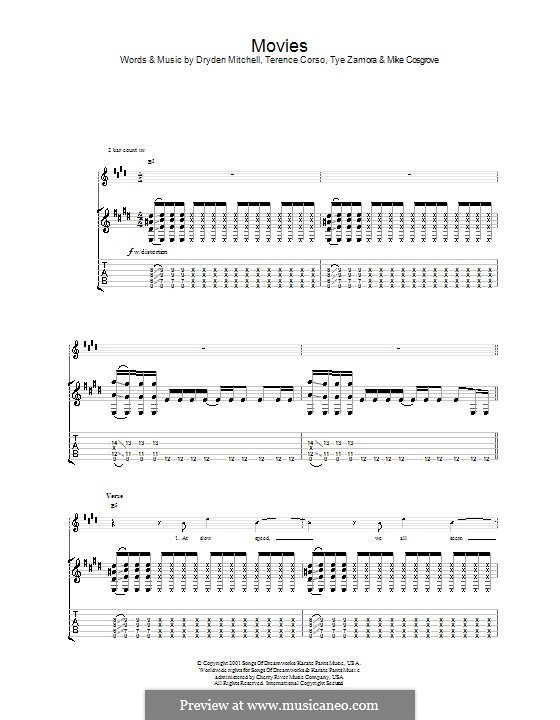 Movies (Alien Ant Farm): For guitar with tab by Dryden Mitchell, Mike Cosgrove, Terence Corso, Tye Zamora