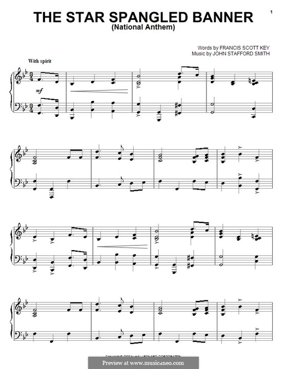The Star Spangled Banner National Anthem Of The United States Printable Scores By J S Smith On Musicaneo