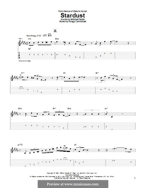 Stardust (Frank Sinatra): For guitar with tab by Hoagy Carmichael