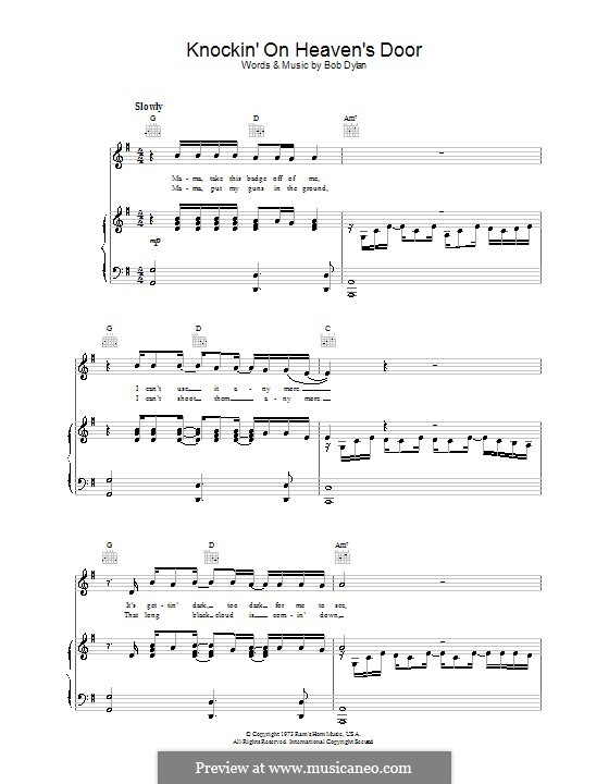 Knockin\' on Heaven\'s Door by B. Dylan - sheet music on MusicaNeo