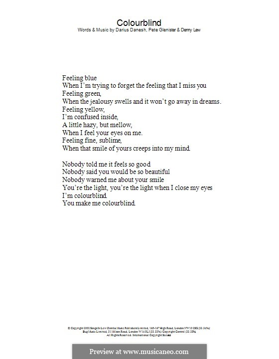 Colourblind: Lyrics only by Darius, Deni Lew, Pete Glenister