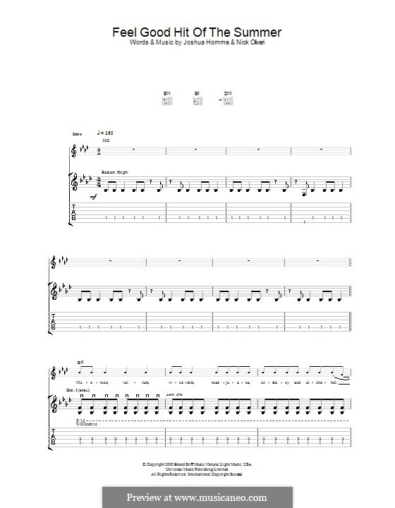 Feel Good Hit of the Summer (Queens of the Stone Age): For guitar with tab by Joshua Homme, Nick Oliveri