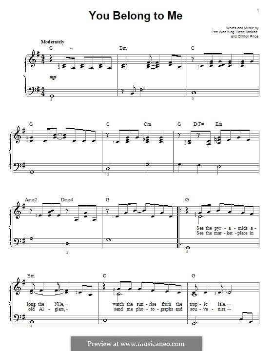 You Belong To Me (Patsy Cline): For easy piano by Chilton Price, Pee Wee King, Redd Stewart