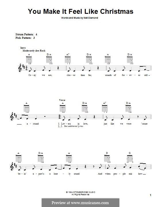 You Make It Feel Like Christmas: For guitar (very easy version) by Neil Diamond