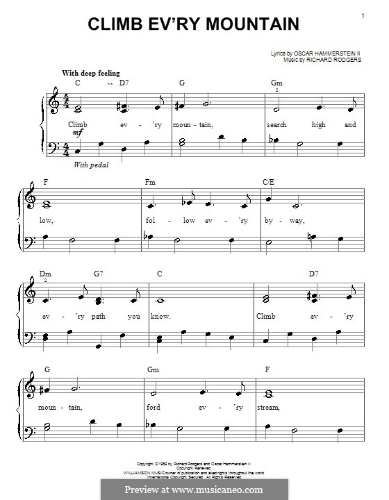 Climb Ev'ry Mountain: For easy piano by Richard Rodgers