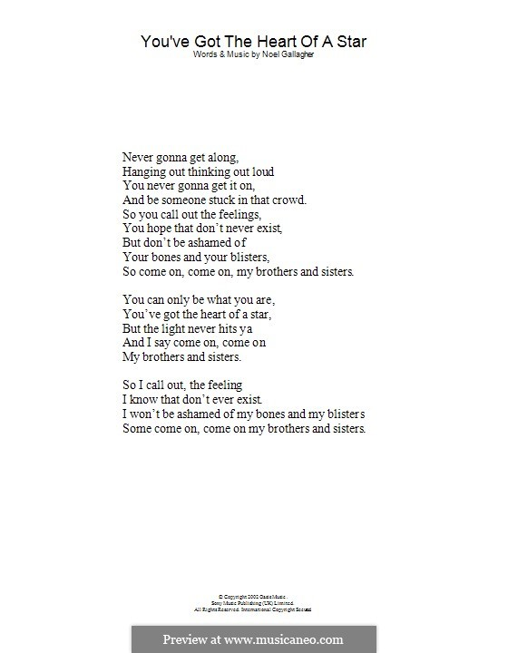 You've Got the Heart of a Star (Oasis): Lyrics only by Noel Gallagher