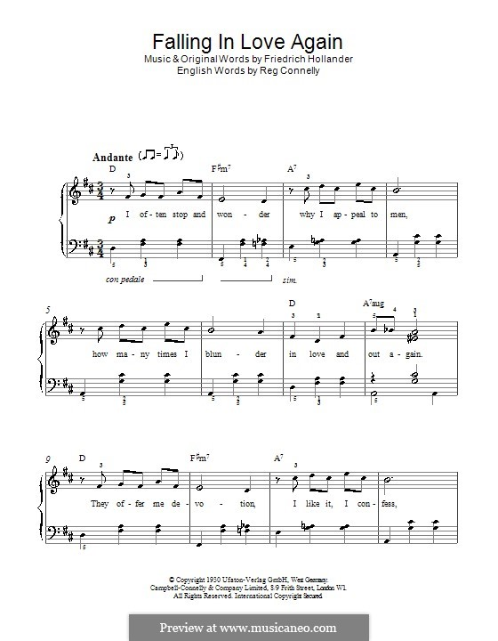 Falling in Love Again (Can't Help It): For easy piano by Friedrich Holländer