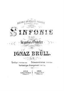 Symphony in E Minor, Op.31: For piano four hands by Ignaz Brüll