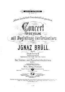 Violin Concerto, Op.41: Version for violin and piano by Ignaz Brüll