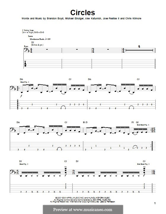 Circles (Incubus): For bass guitar with tab by Alex Katunich, Brandon Boyd, Michael Einziger