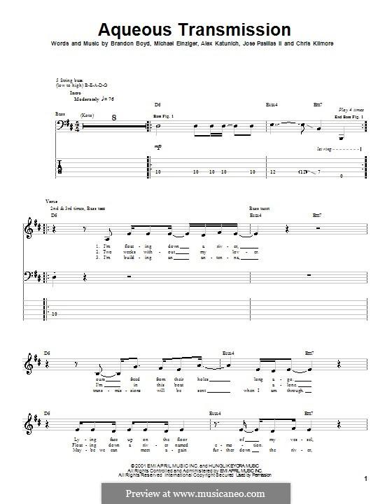 Aqueous Transmission (Incubus): For bass guitar with tab by Alex Katunich, Brandon Boyd, Michael Einziger