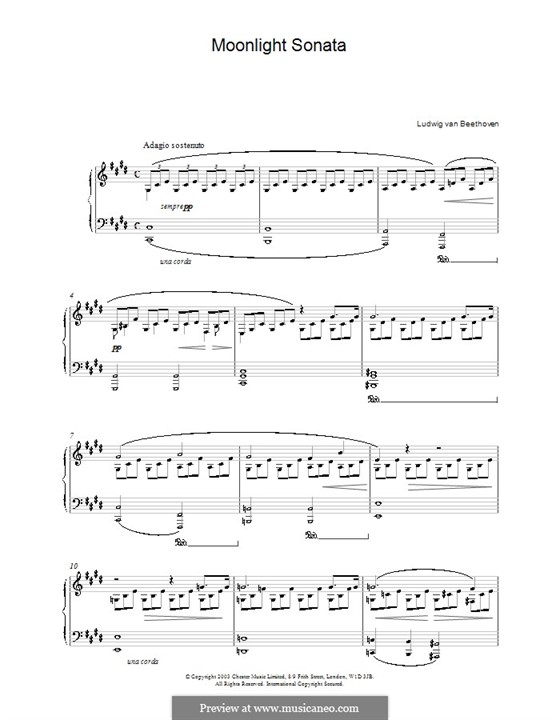 Movement I (Printable scores): For a single performer (high quality sheet music) by Ludwig van Beethoven