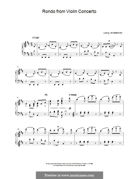 Concerto for Violin and Orchestra in D Major, Op.61: Rondo. Version for piano by Ludwig van Beethoven