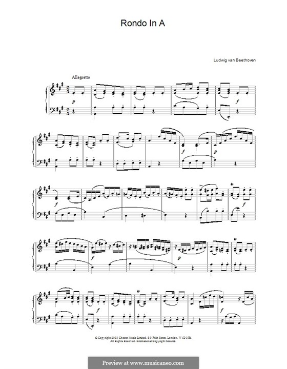 Rondo in A Major, WoO 49: For piano by Ludwig van Beethoven