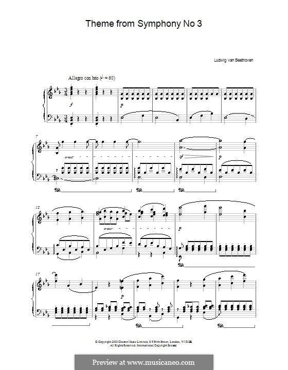 Movement I: Version for piano by Ludwig van Beethoven
