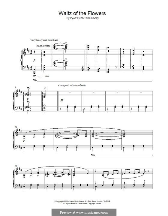 No.8 Waltz of the Flowers: For piano (high quality sheet music) by Pyotr Tchaikovsky