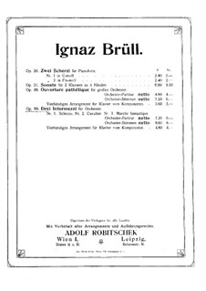 Three Intermezzo, Op.99: For piano four hands by Ignaz Brüll