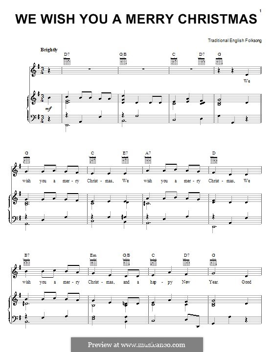 Wish You Merry Christmas Piano Notes.Melody Line
