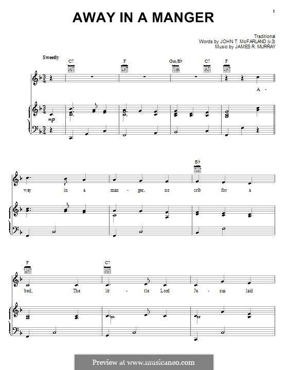 Away in a Manger (Printable Scores): For voice and piano (or guitar) by James R. Murray