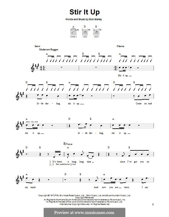 Stir It Up: For guitar (with strumming patterns) by Bob Marley