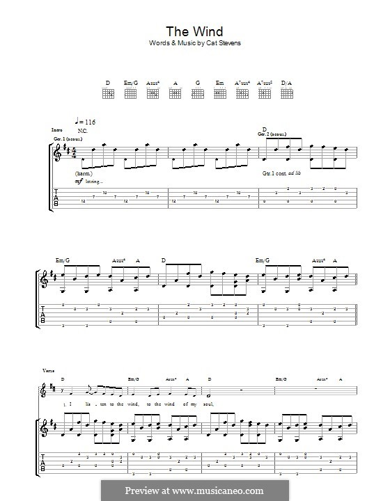 The Wind: For guitar by Cat Stevens