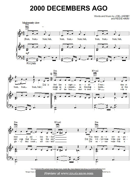 2000 Decembers Ago: For voice and piano (or guitar) by Joel Lindsey, Regie Hamm