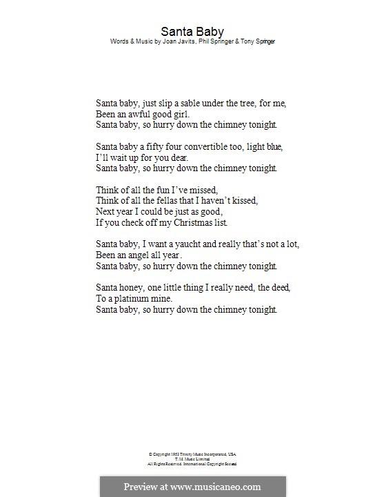 Santa Baby (Eartha Kitt): Lyrics only by Joan Javits, Philip Springer, Tony Springer